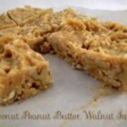 Healthy Coconut Peanut Butter Walnut Fudge