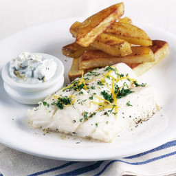 Healthy fish and chips with tartare sauce