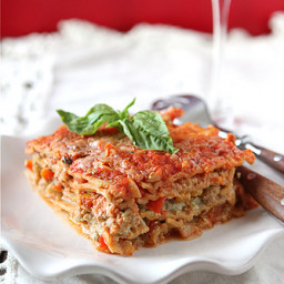 Healthy Lasagne Recipe with Turkey, Pesto and Peppers