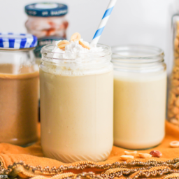 Healthy Peanut Butter and Jelly Smoothie (refined sugar free, low fat, high