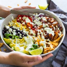 Healthy Shrimp Taco Bowls with Creamy Cilantro Sauce
