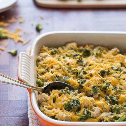 Healthy Cheesy Chicken Broccoli Rice Casserole