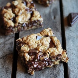 Healthy Dark Chocolate Chunk Oatmeal Cookie Bars (Idiot Proof)