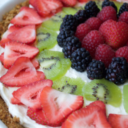 {Healthy~Easy~No Bake} Cheesecake Fruit Tart with Graham Crust