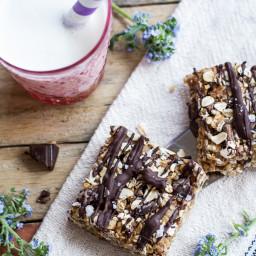 Healthy No-Bake Salted Dark Chocolate Chunk Oatmeal Cookie Bars.