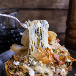 Healthy Spanakopita Stuffed Roasted Garlic Spaghetti Squash + Havarti Bowls