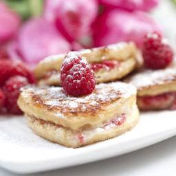 Heart Shaped French Toast with Mascarpone and Raspberry