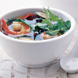 Hearty miso soup with prawns and eggplant
