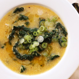 Hearty Vegan Polenta and Kale Soup With Miso and Toasted Sesame Oil Recipe