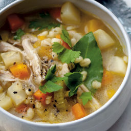 Hearty root and barley soup