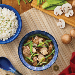 Asian Beef and Mushroom Soup with Rice
