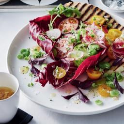 Heirloom tomato, radish and yoghurt flatbread panzanella