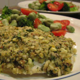 Herb and almond crusted barramundi