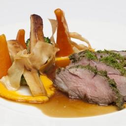 Herb-crusted lamb rump