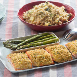 Herb-Crusted Salmonwith Roasted Asparagus and Zucchini-Freekeh Salad