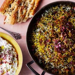 Herb Rice with Green Garlic, Saffron, and Crispy Shallots