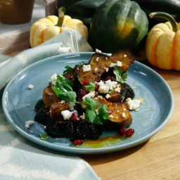 Herb-Roasted Acorn Squash with Queso Fresco and Pomegranate
