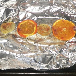 Herb Stuffed Trout with Orange And Onions - Reduced