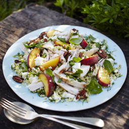 Herbed chicken, peach and feta salad