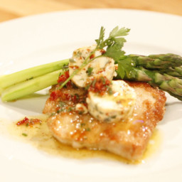 Herbed Pork Paillards with Sundried Tomato Butter and Asparagus