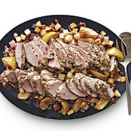 Herbed Pork Tenderloin with Mustard-Roasted Apples and Potatoes