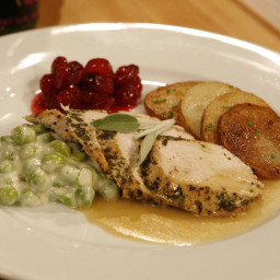 Herbed Turkey Breast in Gravy with Creamed English Peas and Cranberry Compo