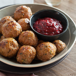 Herbed Turkey Meatballs and Cranberry Barbeque Sauce