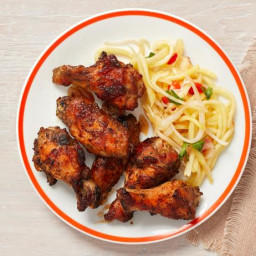 Hickory-Smoked Jerk Chicken Wings with Pickled Pineapple