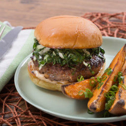 Hoisin and Shiitake Burgerswith Miso Mayonnaise and Roasted Sweet Potato We
