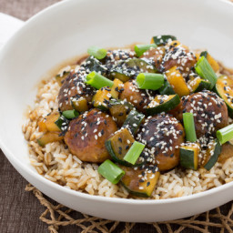 Hoisin-Glazed Chicken Meatballswith Zucchini and Brown Rice