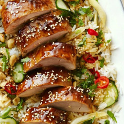 Hoisin-Glazed Pork Tenderloin with Asian Rice Salad