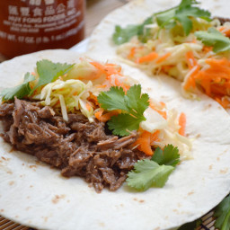 hoisin beef tacos with sweet and sour slaw
