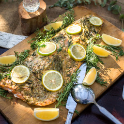 Whole Baked Side of Salmon with Mustard and Herbs