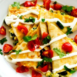 Spinach and Red Pepper Breakfast Quesadillas