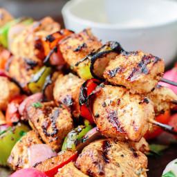 Mediterranean Grilled Chicken Kabobs + Cayenne Tahini Sauce