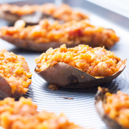 Smoky Chickpea Loaded Sweet Potato Skins