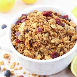 Slow Cooker Essential Oil Lemon Blueberry Granola