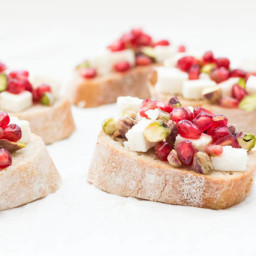 Pistachio, Feta and Pomegranate Crostini