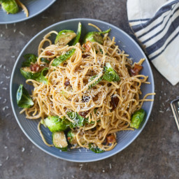 Carbonara with Roasted Balsamic Brussels