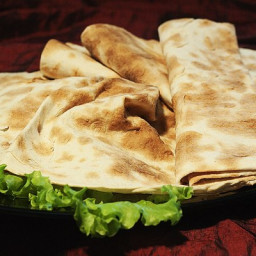 Home thin pita bread in a pan