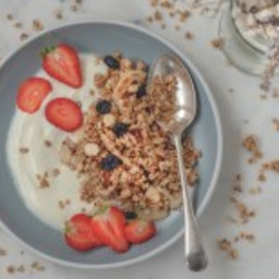 Homemade 5-minute granola in a pan
