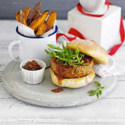 Homemade burgers with sweet potato wedges