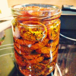 Homemade dried tomatoes in olive oil