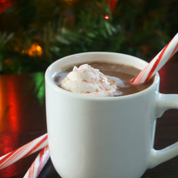 Homemade Hot Chocolate with Frozen Peppermint Whipped Cream