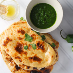 Homemade Naan with Mint Cilantro Chutney