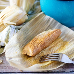 Homemade Tamales with Cheese and Green Chiles