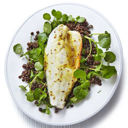 Honey and orange roast sea bass with lentils