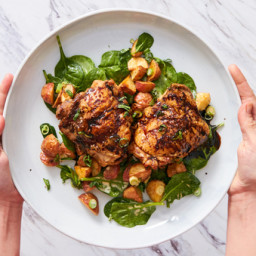 Honey-Balsamic Chicken Thighs with Roasted Potato Salad