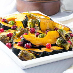 Honey Balsamic Roasted Acorn Squash and Brussels Sprouts