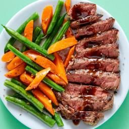 Honey-dijon glazed steak with brown butter green beans & carrots
